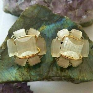 Vintage moonglow cluster earrings silver tone